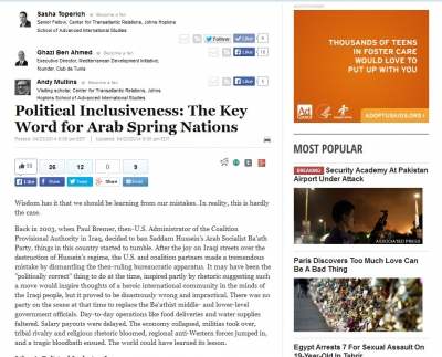 Political Inclusiveness: The Key Word for Arab Spring Nations, Huffington Post