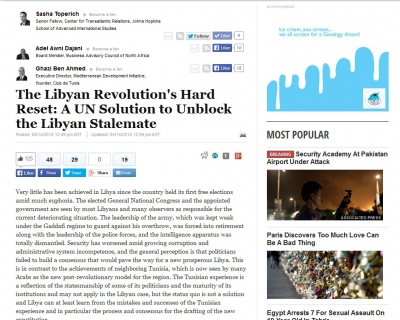 The Libyan Revolution's Hard Reset: A UN Solution to Unblock the Libyan Stalemate, Huffington Post